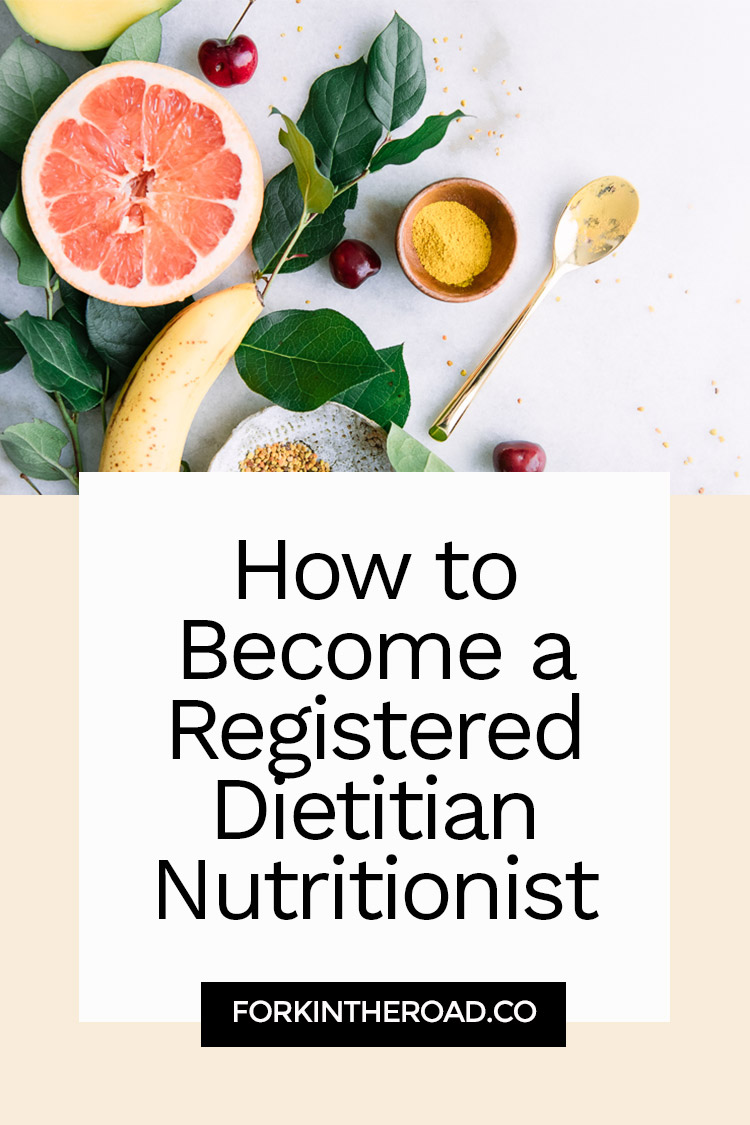 "The words ""How to Become a Registered Dietitian Nutritionst"" in black writing on a white and cream background with a photo of yellow fruit."