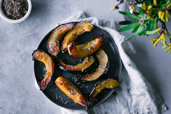 roasted acorn squash wedges with salt and sage
