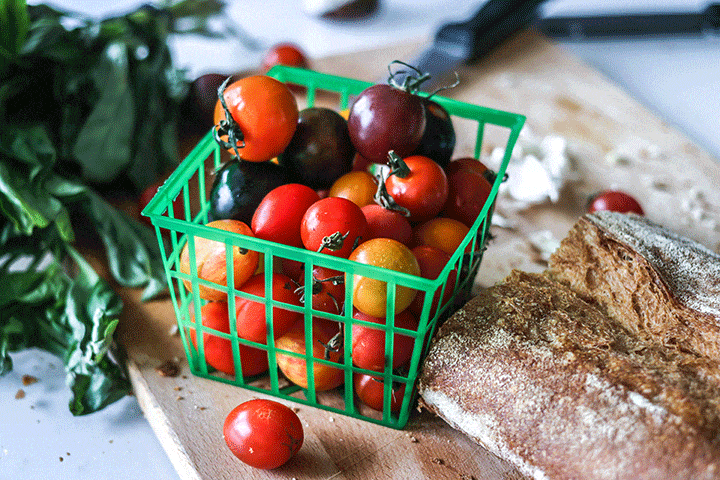 Caprese Ciabatta Toast - fresh summer tomatoes with baked garlic ciabatta bread.
