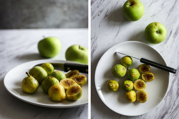 two photos of green figs sliced on a white plate