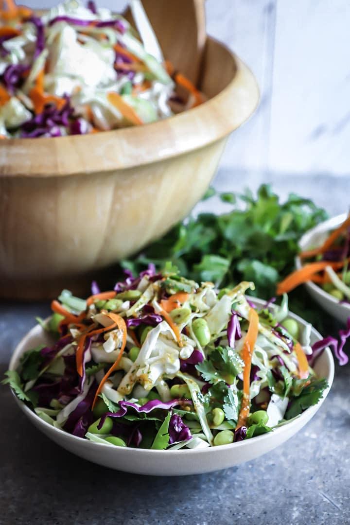 Miso Ginger Edamame Slaw - Fresh Vegan Coleslaw with an ...