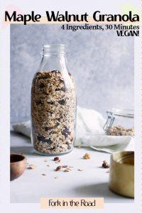 "A jar of homemade maple walnut granola with the words ""Homemade Maple Walnut Granola"" in black writing."