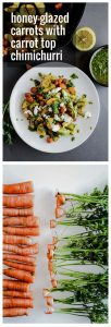 A long pin of two photos, the top a plate of carrots with goat cheese and carrot top chimichurri, the bottom a row of diced carrots.