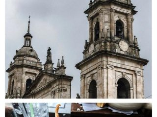 "A photo of the Bogota Cathedral tower and another photos of a chickpea and sausage soup with the words ""Travel Guide: Bogota Colombia"" on top."