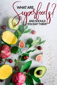 "An arrangement of superfoods on a table with mangos, cherries, avocados, figs, and beets with the words ""what are superfoods and should you be eating them"" in black and red letters."