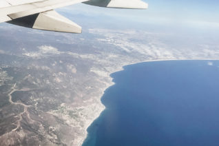 The view of Los Angeles coastline from an airplane.
