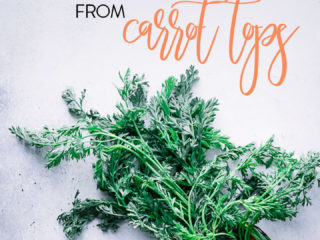 "carrots with long greens on a blue table with the words ""how to make pesto and chimichurri from carrot tops"""