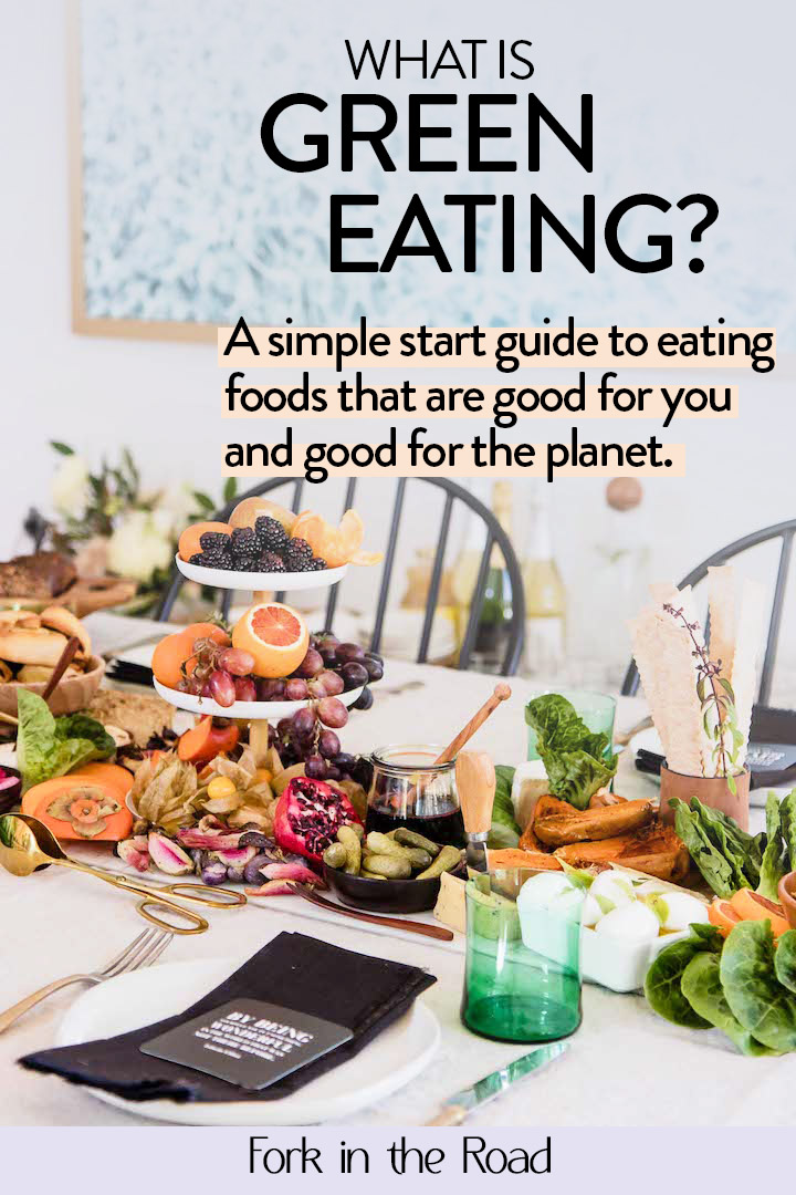 "A table with food and the words ""what is green eating"" in black writing."