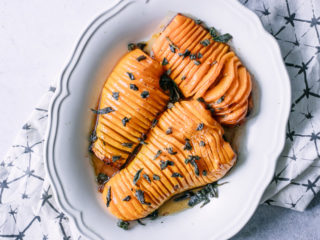 thinly cut roasted butternut squash with fried sage on top