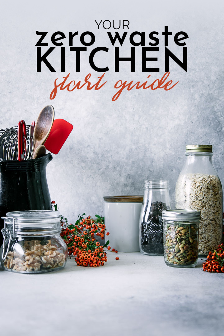 "Reusable glass foods jars with the words ""your zero waste kitchen start guide"" in black writing"