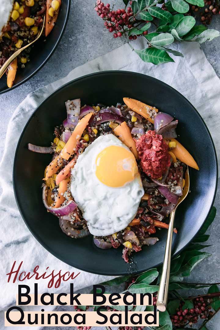 Harissa Black Bean Quinoa Bowl