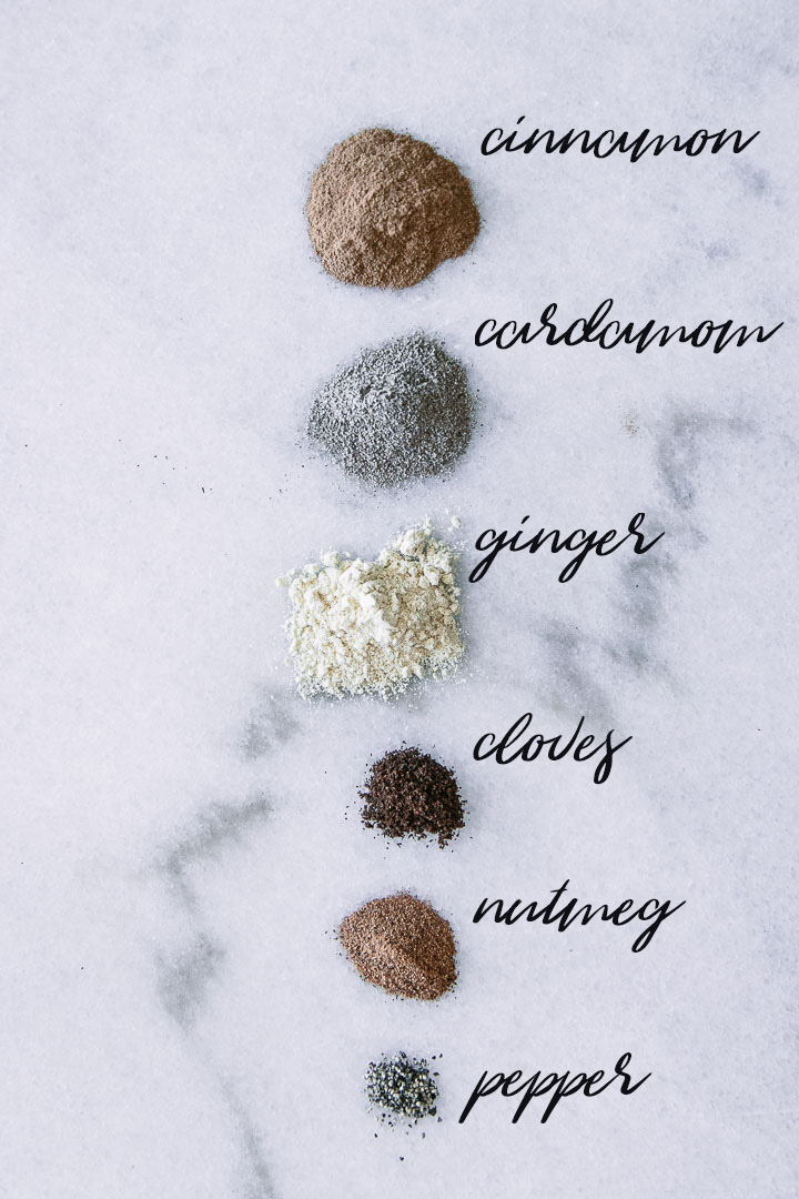 a spoonful of cinnamon, cardamom, ginger, cloves, nutmeg, and black pepper on marble