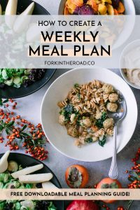"""a table with a bowl of pasta, two salad bowls, and persimmons with a white graphic that says """"how to create a weekly meal plan"""" in black writing"""