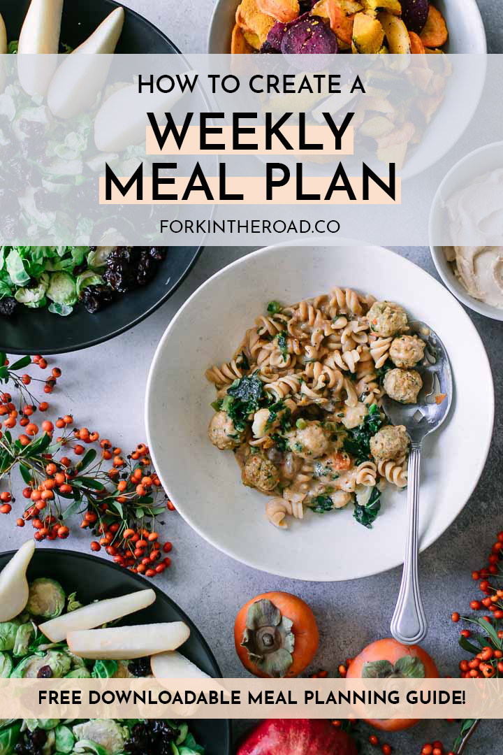 "a table with a bowl of pasta, two salad bowls, and persimmons with a white graphic that says ""how to create a weekly meal plan"" in black writing"