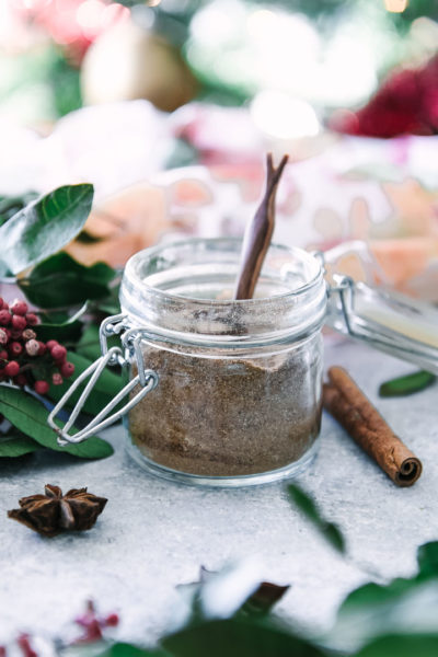 a small glass jar with a masala chai spice blend