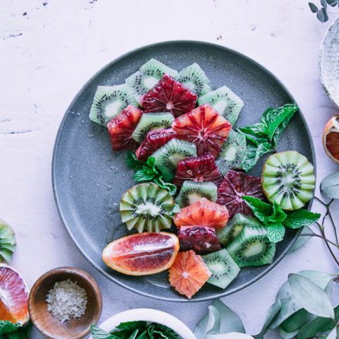 Blood Orange Kiwi Mint Fruit Salad