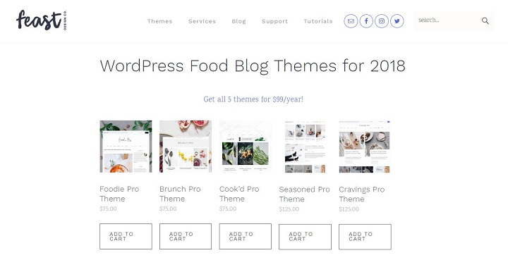 a screenshot of feast design co's food blog themes