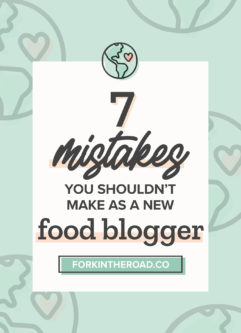 "a green graphic with the words ""7 misteakes you shouldn't make as a new food blogger"" in black writing"