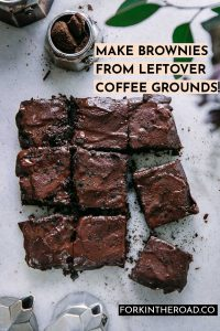 """espresso brownies on a marble table with the words """"make brownies from leftover coffee grounds"""" in black writing"""