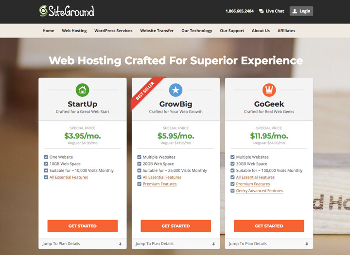 A table with all Siteground food blog hosting plans, with pricing