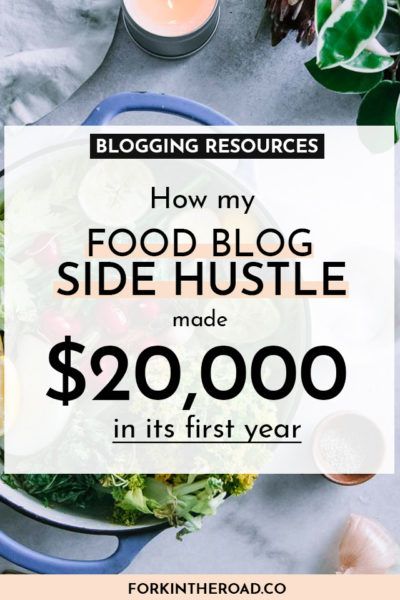 "a photo of a soup pot and vegetables with a white boxed graphic with the words ""blogging resources: how my food blog side hustle made $20,000 in its first year"" in black writing"