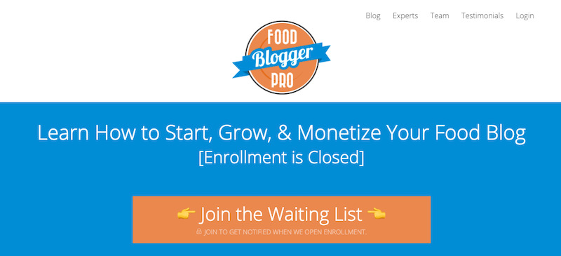 a screenshot of Food Blogger Pro's home page