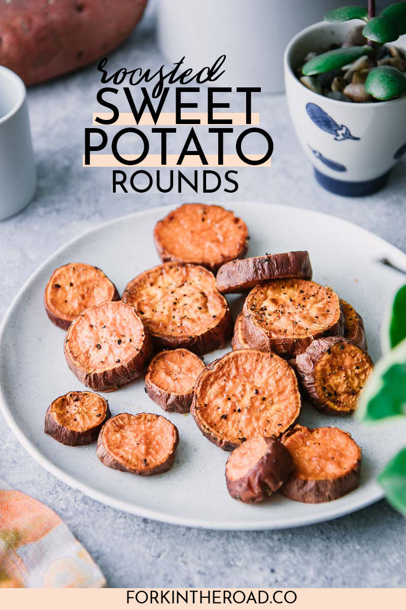 roasted sweet potato slices on a white plate