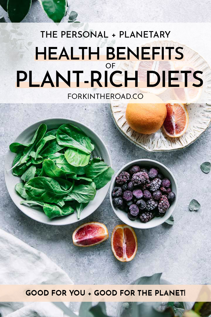 "a bowl of spinach, berries, and oranges on a white table with the words ""the personal and planetary health benefits of plant-rich diets"" in black writing"