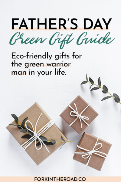 """Gifts in natural gift wrap on a white table with the words """"Father's Day Green Gift Guide"""" in black writing"""