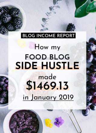 """a photo of food on a white table with the words """"how my food blog side hustle made $1469.13 in January 2019"""" in black writing"""