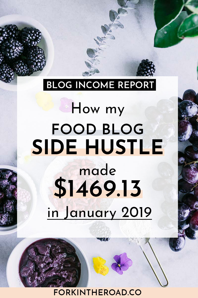 "a photo of food on a white table with the words ""how my food blog side hustle made $1469.13 in January 2019"" in black writing"
