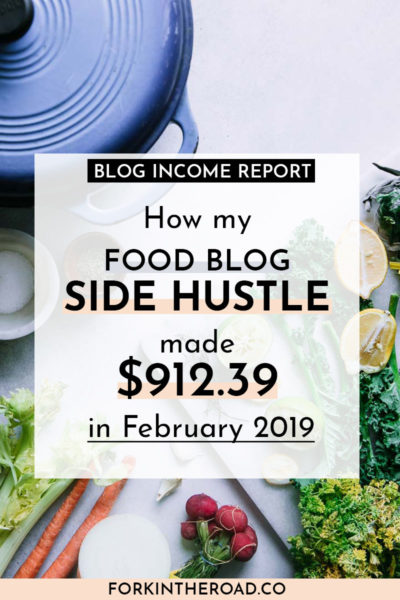 "a photo of vegetables on a table with a white box with the words ""how my food blog side hustle made $912.39 in February 2019"" in black writing"