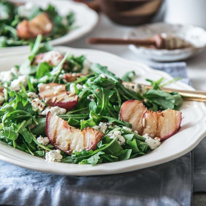 Grilled Peach Salad with Goat Cheese and Honey