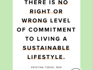 "a green graphic with the quote ""there is no right or wrong level of commitment to living a sustainable lifestyle"" in black writing"