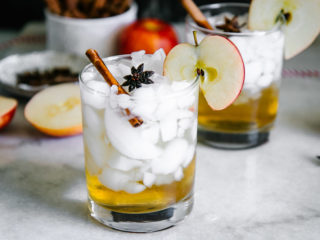 an apple cider vinegar spritzer over ice in a cocktail glass with an apple slice and cinnamon stick garnish on a white table