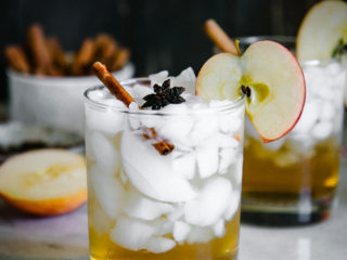 an apple cider vinegar spritzer over ice in a cocktail glass with an apple slice and cinnamon stick garnish on a white table with the word
