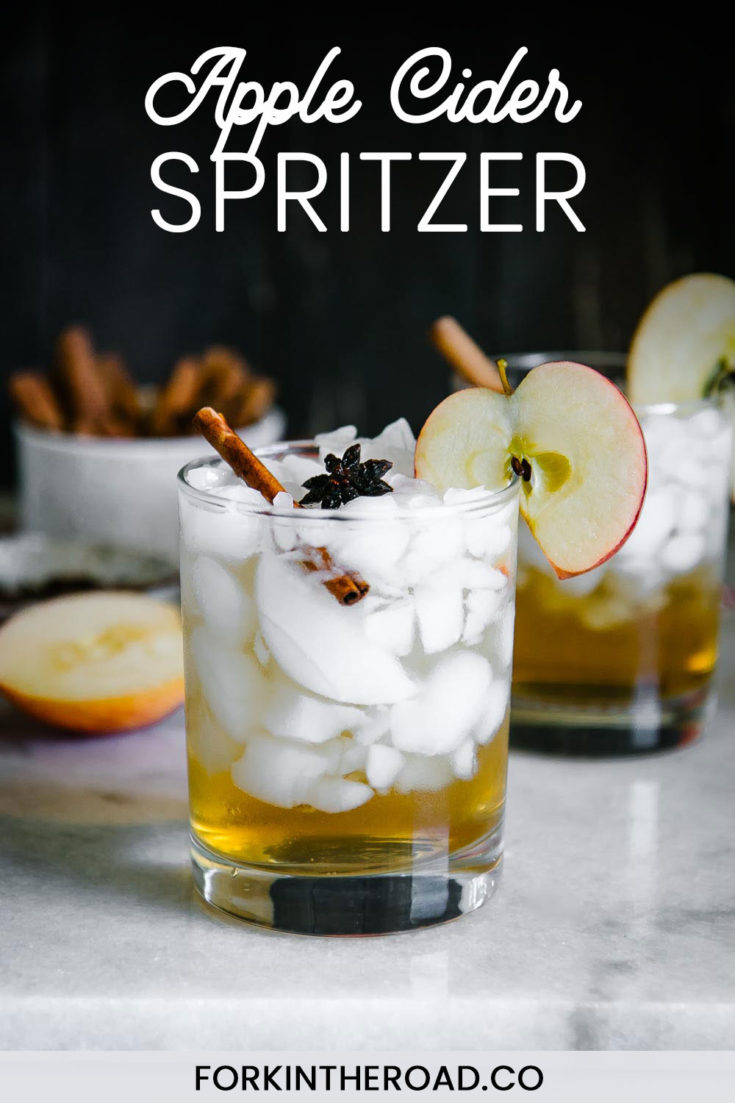 Apple Cider Sprizer, a simple fall-inspired mocktail featuring apple cider vinegar spiced with cinnamon, anise, and cloves, and topped with sparkling water. Perfect for autumn and ready in less than 15 minutes! | ForkInTheRoad.co | #mocktail #cocktail #recipe #applecider #applecidervinegar #spritzer #spritz #forkintheroad