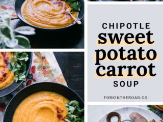 five photos of how to make sweet potato carrot soup against a white background
