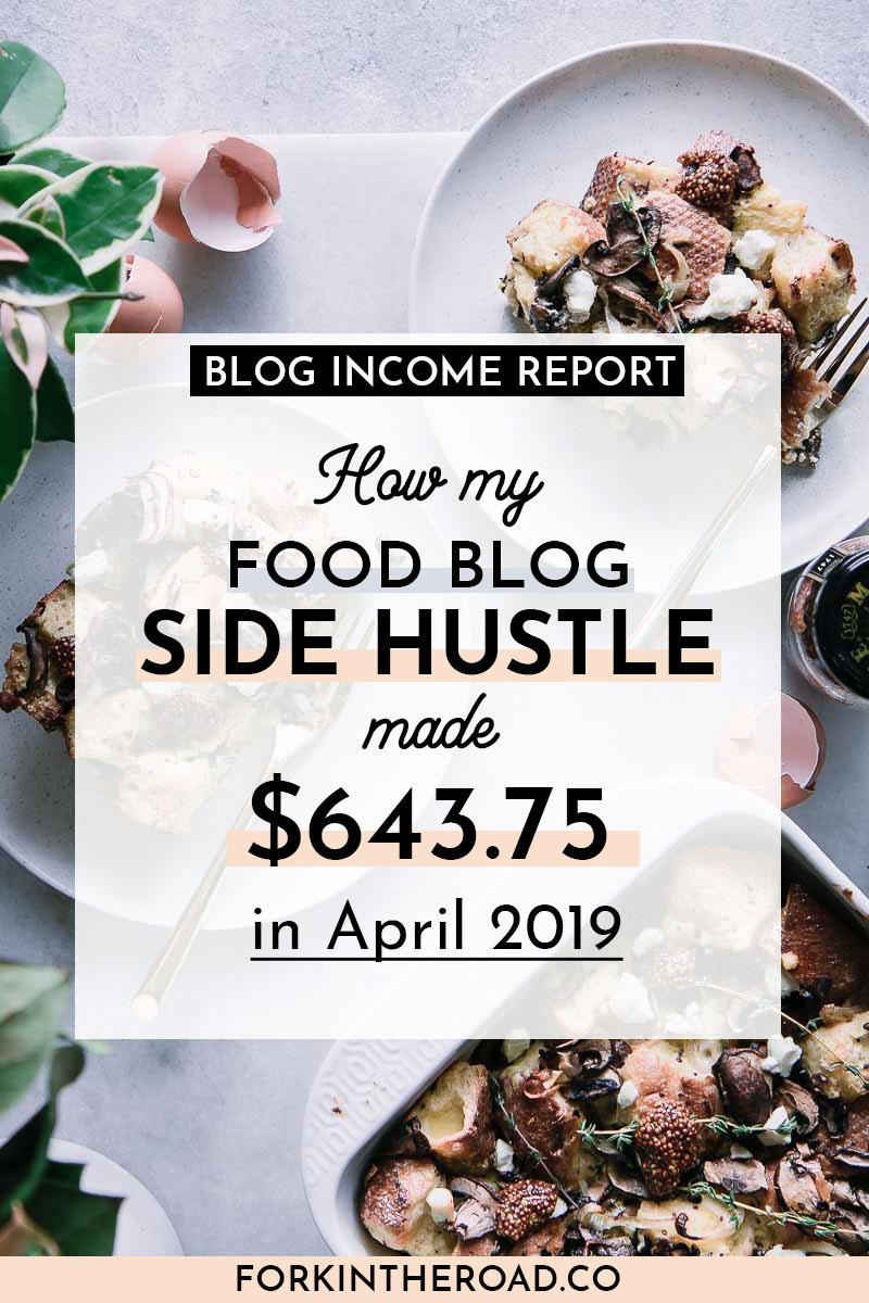 "a photo of baked strata with a white graphic and black writing that says ""how my food blog side hustle made $643.75 in april 2019"""