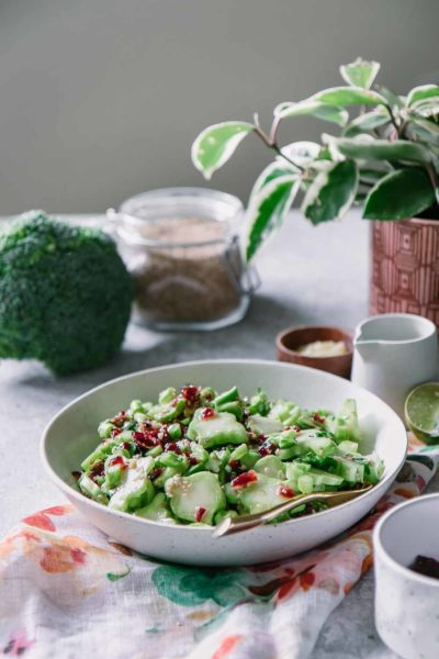 a white bowl with broccoli stems and cranberries in a white bowl on a blue table and a plant in the background