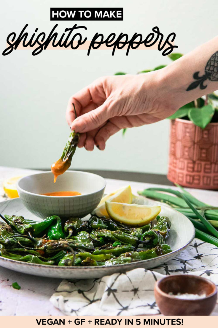 Easy Pan Fried Shishito Peppers, a simple plant-based blistered pepper appetizer served with a spicy tahini dipping sauce that's ready in only 10 minutes! | ForkInTheRoad.co | #shishito #peppers #appetizer #vegan #healthy #blistered