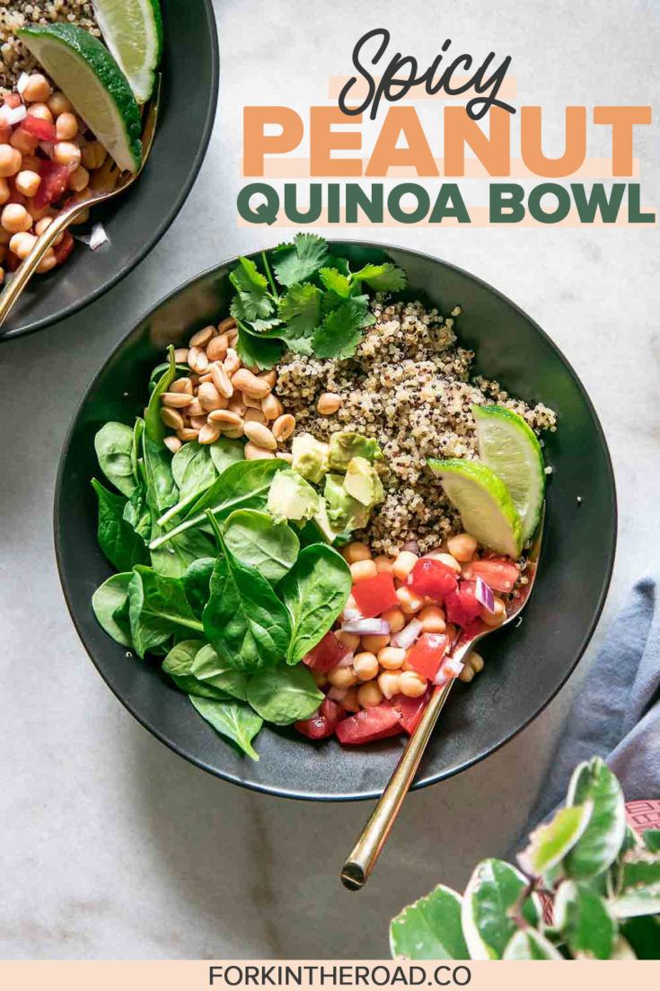 Spicy Peanut Quinoa Bowl, a simple grain bowl with quinoa, spinach, chickpeas, avocado, peanuts, and a Spicy Peanut Sauce drizzle. Delicous and oh-so easy! | ForkInTheRoad.co | #bowl #vegan #quinoa #healthy #easy #spicy #plantbased