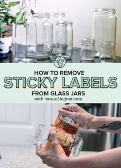 a graphic with one photo of a hand removing a label from a glass jar and another photo of empty clean jar jars with the words