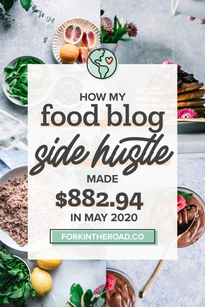"a collage of food photos with a white graphic with the words ""how my food blog side hustle made $882.94 in May 2020"" in black writing"