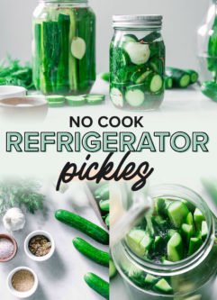 a collage of photos showing the ingredients and process of making refrigerator pickles, with the words