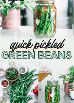a collage of photos of quick pickled green beans, including ingredients needed and a brine pouring into a jar