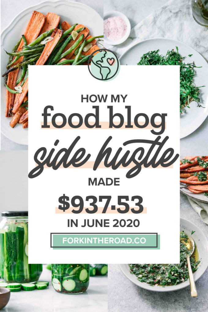 "a collage of food photos with a white graphic with the words ""how my food blog side hustle made $882.94 in June 2020"" in black writing"