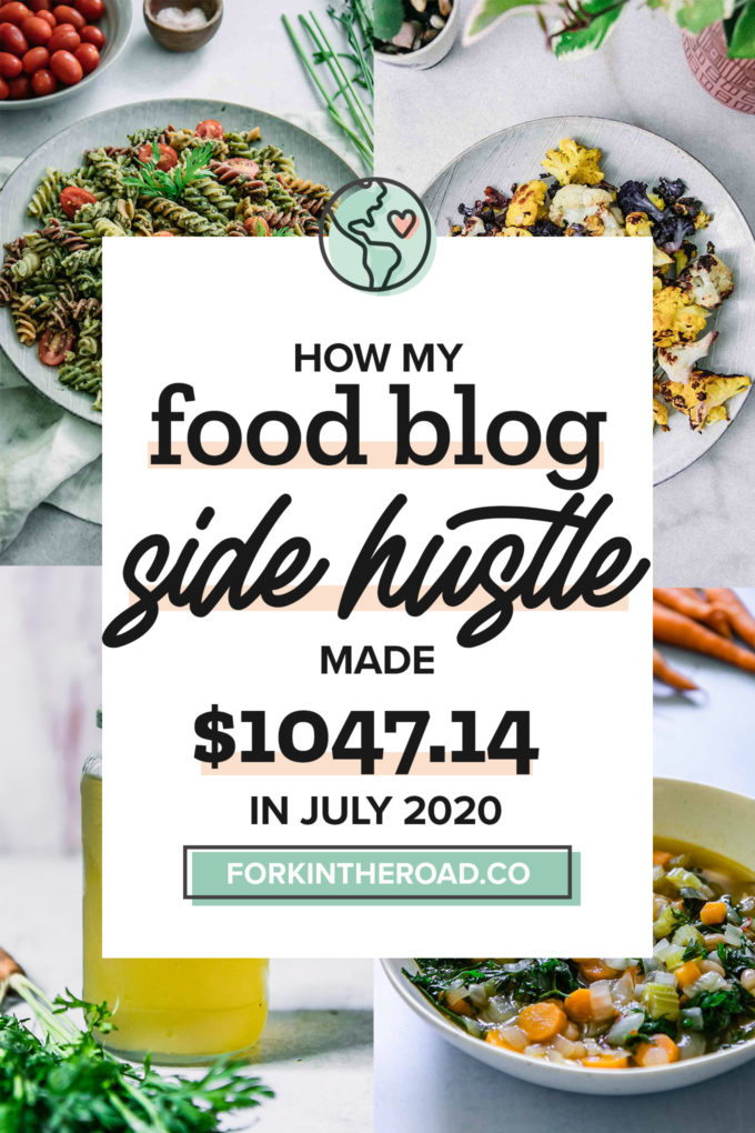 "a collage of food photos with a white graphic with the words ""how my food blog side hustle made $882.94 in July 2020"" in black writing"
