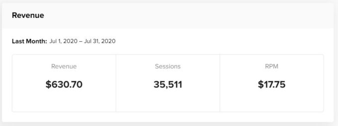a screenshot of Mediavine display ad income for Fork in the Road blog in July 2020