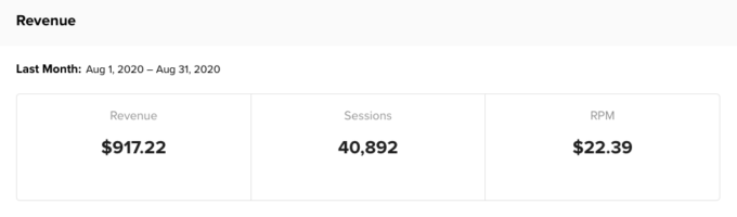 a screenshot of Mediavine display ad income for Fork in the Road blog in August 2020